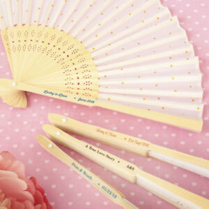 25-200 Personalized Gold Dot Design Silk Fans - Summer Wedding Party Favors