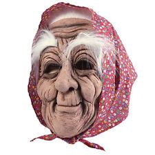 Vecchia maschera in gomma con headscalf Adulto Costume