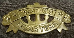 Solid Brass Captain's Quarters Wall Sign made in India