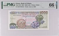 Ghana 1000 Cedis 2002 P 32 GEM UNC PMG 66 EPQ