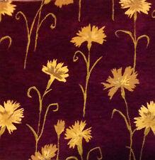 Beautiful deep Plum and Gold colour Flower detail Chenille Cushion Covers12'' BN