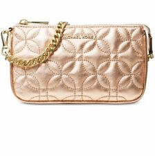 💯 Michael Kors Quilted Floral Chain Pouchette Leather Metallic Rose / Gold $118