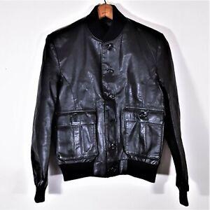 Vintage 70s Saxony Mens Black Leather Bomber Jacket 1970s Motorcycle Mod Coat 38
