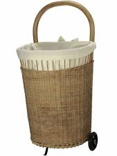 Wicker French Market Basket, Wheels & Liner, 19 x 16.5 x 28.5 in, Natural Brown