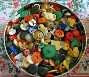 Vintage Metal, Shank. Mother Of Pearl, Plastic, Small barrel Buttons In Tin