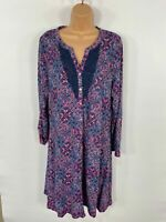 BNWT WOMENS PER UNA MARKS&SPENCER BLUE MIX FLORAL PRINT CASUAL SHIFT DRESS UK 16