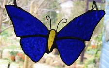 DARK BLUE ULYSSES STAINED GLASS BUTTERFLY suncatcher CUSTOM MADE LEADLIGHTS GIFT