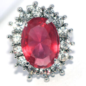 Red Ruby Stone Big Womens Ring Silver Rings Wedding Bridal Party Ring Size 7