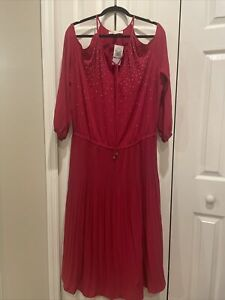 Raspberry Red - Michael Kors dress women party long elegant - Size1x