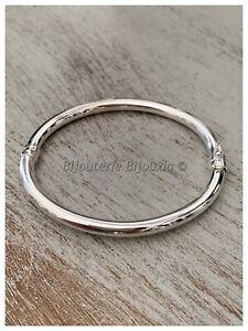 Bracelet Jonc Ouvrable 6,2cm Argent Massif 925/1000 Bijoux Femme