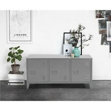 Office File Organizer 3 Door Metal Cabinet Modern Storage Furniture Gray 47.2IN