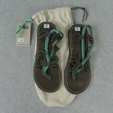 Plaka Flat Sandals for Women Brown Teal Size 6