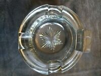 Vintage Clear Glass Cigar Ashtray 5 inch etched bottom excellent condition