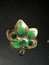 CALVAIPE Brooch Pin Sterling Silver Leaf with Green Stones and Green Paint