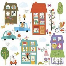 HAPPY TOWN WALL DECALS City Houses Animals Cars Room Decor Stickers Trees Scene