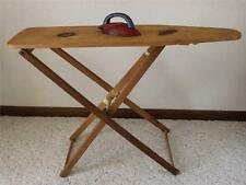 Antique Primitive Gift Wooden Child's Toy Ironing Board & Iron DATED & SIGNED