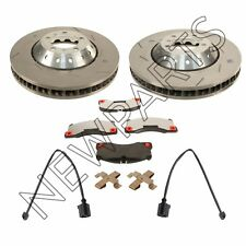 Porsche Set of 2 Slotted Disc Brake Rotors with Pads + Mouting HW & Sensors OEM