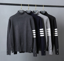 THOM BROWNE Classic High Collar Sweater Men Women Leisure Knitting Winter Jacket