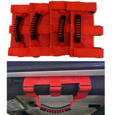 4 x Red Unlimited Roll Bar Grab Handles Wide Grip Handle For Jeep Wrangler JK