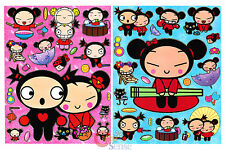 Pucca and  Garu Stickers Set  2 Sheets  Wall Window Pre Cut Vinyl Stickers