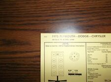 1975 Dodge Plymouth Chrysler Models 318 CI V8 2BBL SUN Tune Up Chart Great Shape