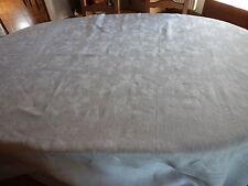 JOLIE longue NAPPE BLANCHE damassé de LIN longeur 2m34/ largeur 2m02,table ronde