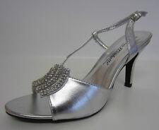 Ladies Anne Michelle Sling Back PEEP Toe Diamante High Heel Sandals L3415 Silver UK 6 Standard