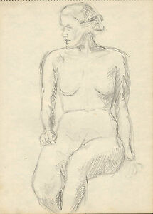 original pencil drawing from a competent artist 1939 ( nude lady ) profile