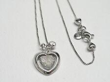 Collana in oro bianco 18 Kt 750 doppio cuore -763/VE-