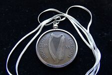 "1933 Antique IRISH Harp, Pingin Pendant on a 30"" .925 Silver Snake Chain Classic"