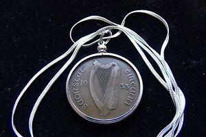 """1933 Antique IRISH Harp, Pingin Coin Pendant on a 26"""" .925 Silver Snake Neckace"""