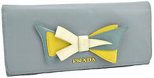 $690 PRADA Light Blue CARPETTO BOW Leather Women's Clutch Wallet NEW COLLECTION