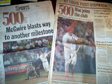 Mark McGwire Hits 500 Home Runs St Louis Post Dispatch Aug 6, 1999 Newspaper Cli
