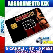 SCHEDA TESSERA ABBONAMENTO PER ADULTI 5 CANALI HD 6 MESI REDLIGHT VIACCESS XXX