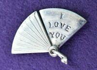 Vintage JMF Mechanical Folding I LOVE YOU Feather Fan Sterling Silver Charm