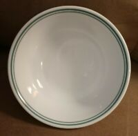 2 EUC Corelle White Green Stripes Country Cottage Cereal Soup Coupe Bowls 6-1/4""