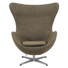LeisureMod Arne Jacobsen Egg Style Occasional Chair in Oatmeal Wool