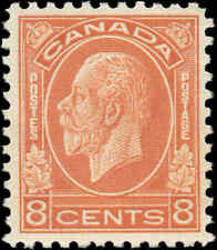 Mint NG Canada 1932 F-VF Scott #200 8c King George V Medallion Issue Stamp