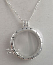 FLOATING LOCKET Authentic PANDORA Silver SAPPHIRE CRYSTAL Large Necklace 590530