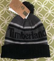 Timberland Winter Beanie Pom Soft Cuffed Hat One Size Black Gray NWT $28