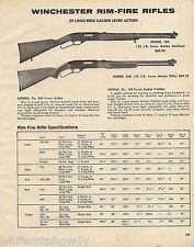 1974 Winchester Model 150 Carbine & 250 Lever Action Rifle Ad w/ specs