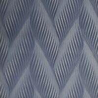 Vinyl Zig zag wave navy blue silver metallic faux fabric textured Wallpaper 3D