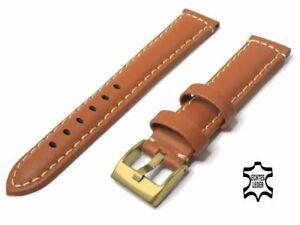 UHRENARMBAND 18 mm Echt Kalb Leder Hellbraun Ziernaht vergoldete Schließe