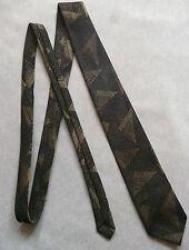 Modernist SKINNY SLIM MOD cravatta vintage anni 1960 Scuro Oro Nero Astratto Geometrico