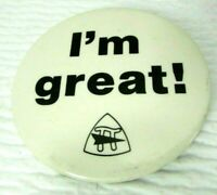 Vintage 1970s I'm Great Teacher Pi Sign Arrow Logo 2 1/2 Inch Pinback Button