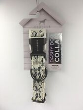 Doghaus Adjustable Girl Dog Collar, Size M, 10-16 inches Gray, White Lace, Dashy