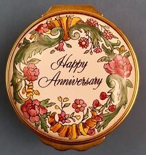 Vintage Halcyon Days Round Enamel Box Happy Anniversary - in Original Gift Box