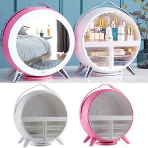 Rotating Large Make-Up Cosmetic Storage Box Vanity Organizer Case With/No LED UK