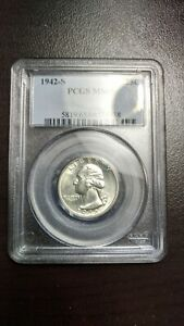 1942 S Washington Quarter PCGS MS 65 Very Nice Blast White Lustrous Coin !