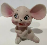 Vintage Hand Painted Pink Mouse Mice Ceramic Figurine statue Japan 3.25 In Tall